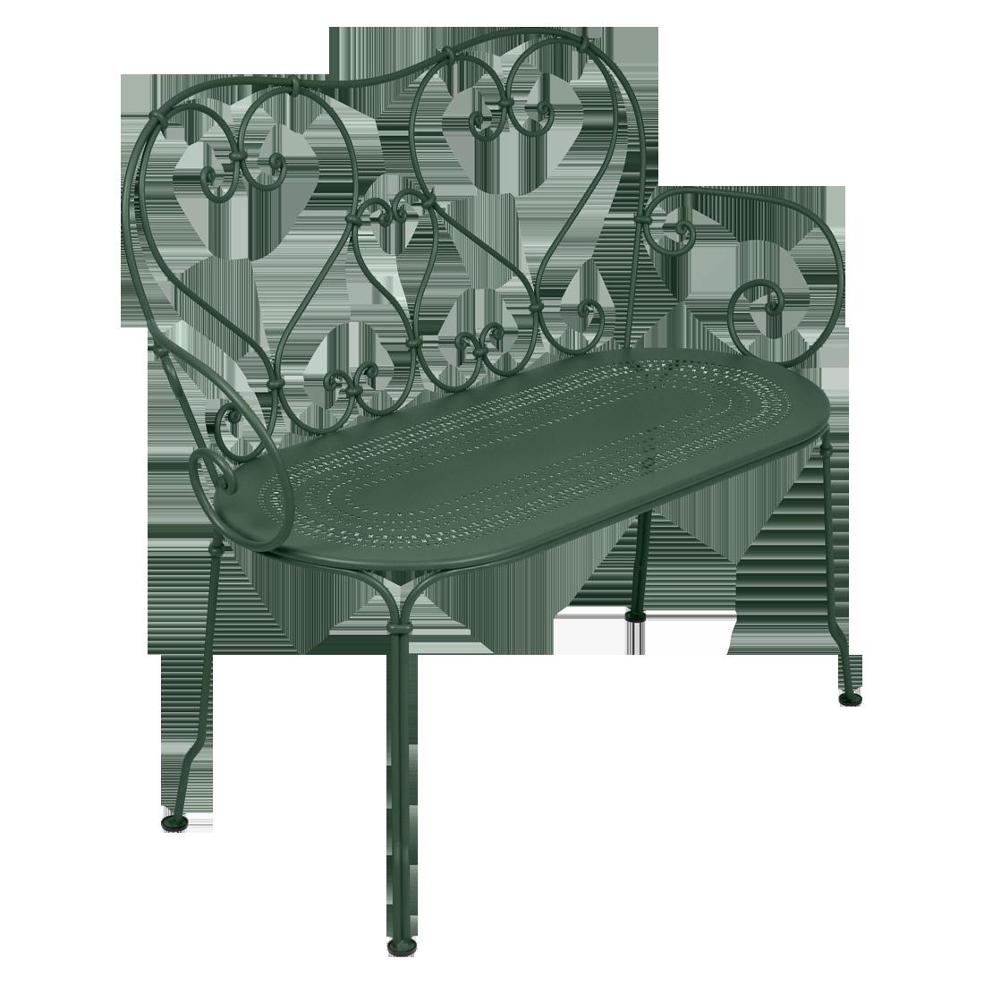 1900 Banquette en métal vert