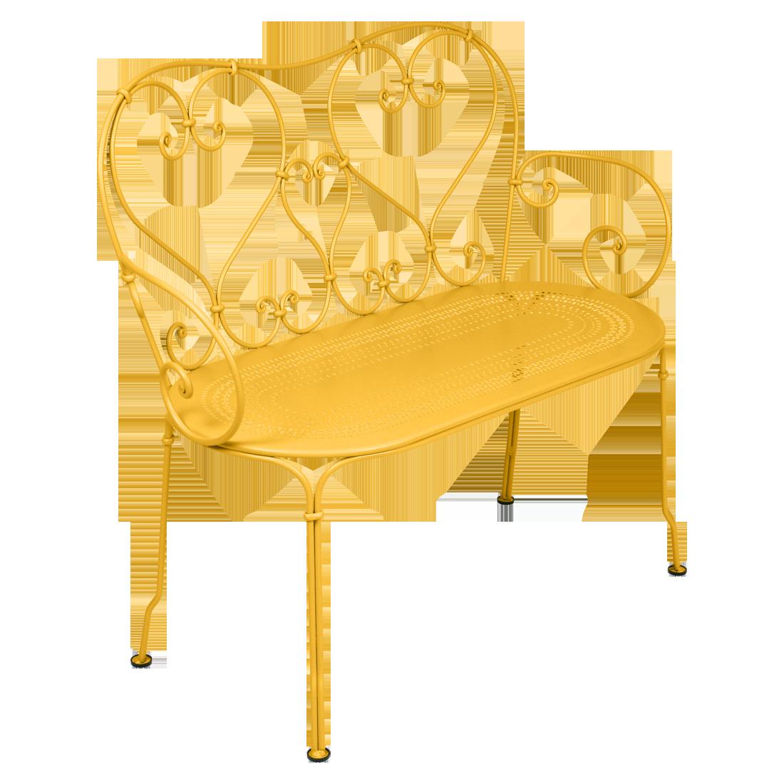 1900 Banquette en métal jaune
