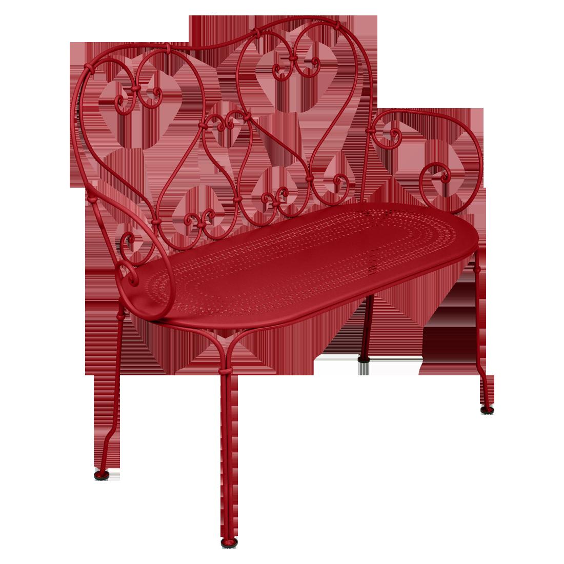 1900 Banquette en métal rouge