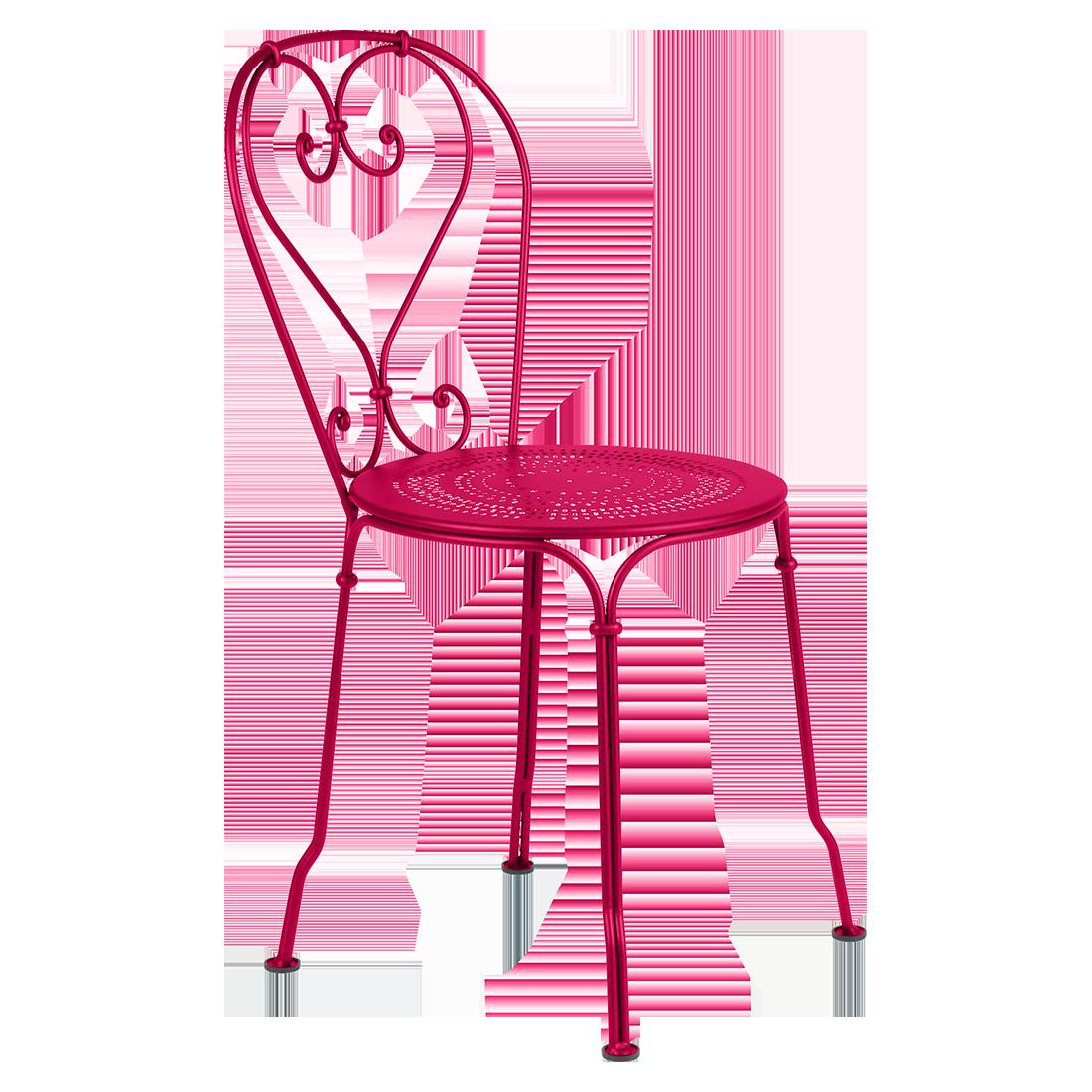 chaise metal rose foncé