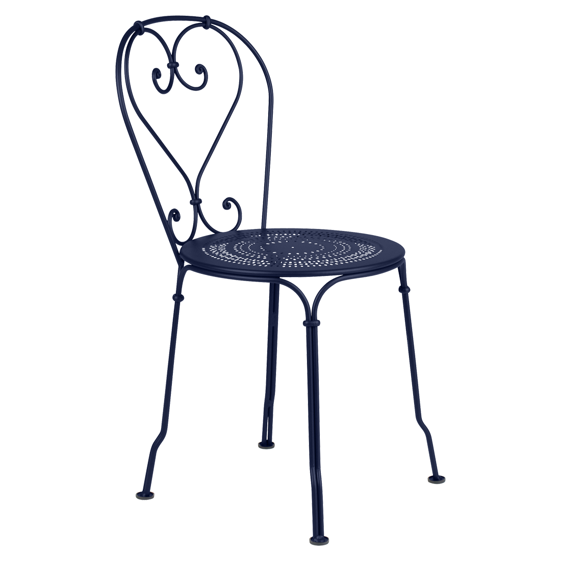 chaise metal, chaise a volute, chaise bleu