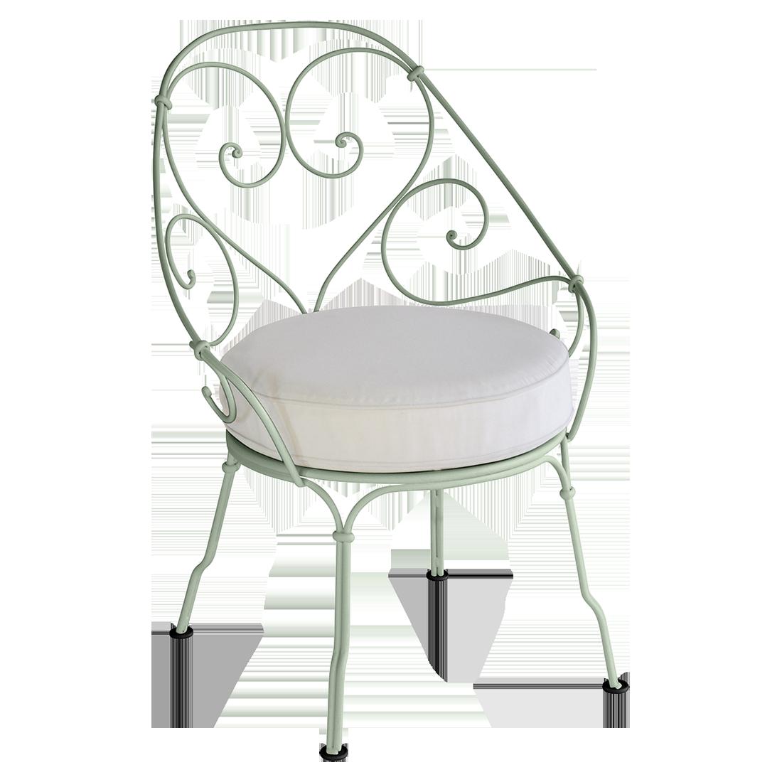 fauteuil cabriolet 1900 coussin blanc gris fauteuil de jardin avec coussin. Black Bedroom Furniture Sets. Home Design Ideas