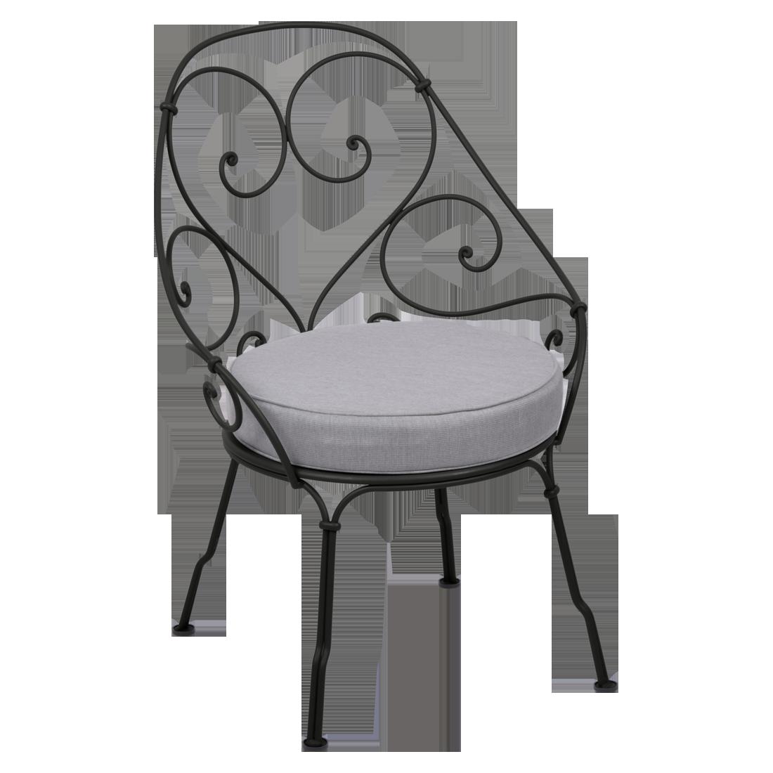 fauteuil de jardin, fauteuil volute, fauteuil fermob, fauteuil noir