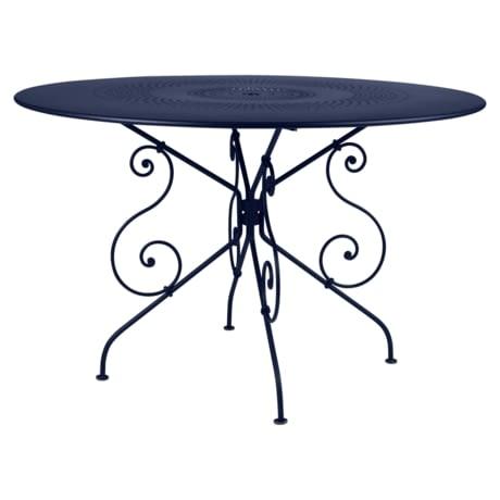 table ronde metal, table de jardin, table metal, table ronde, table ronde bleu