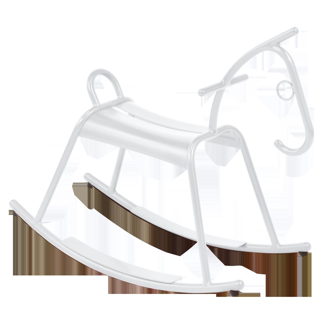 Cheval à bascule métal blanc, deco chambre enfant