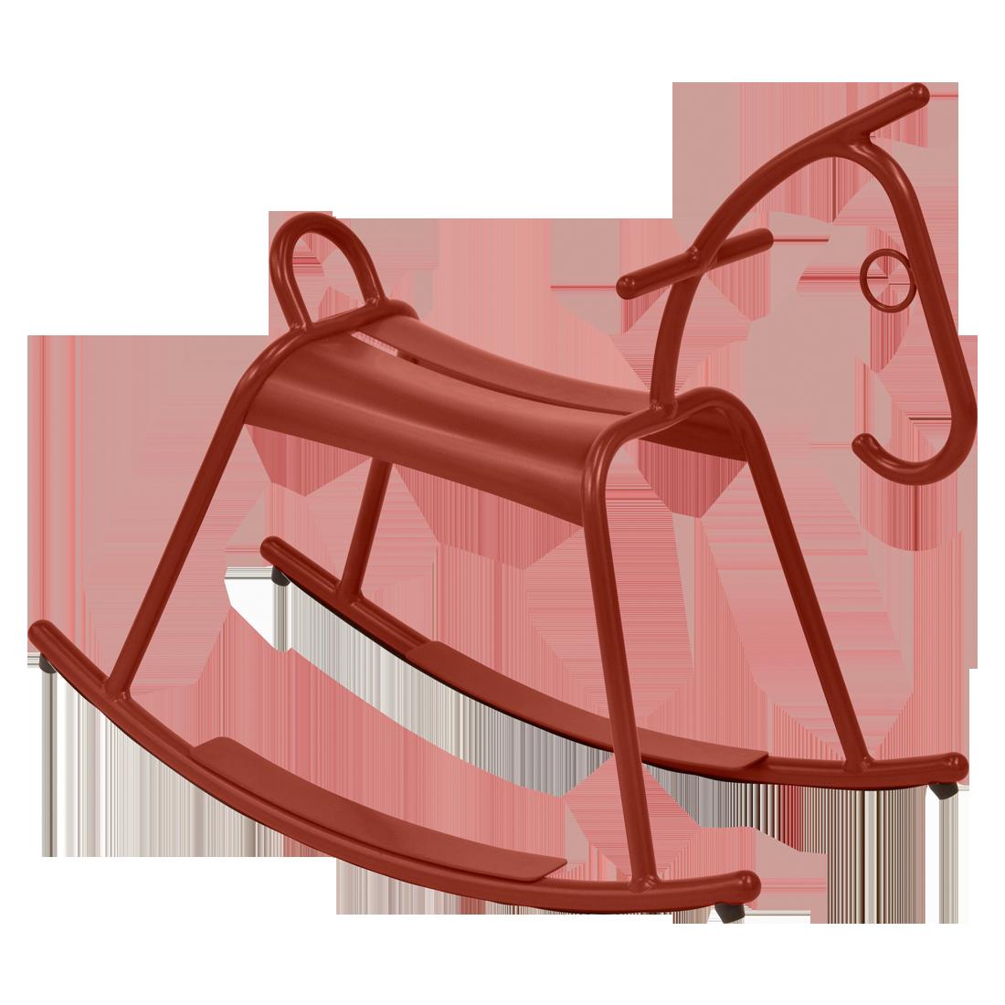 Cheval à bascule adada ocre rouge