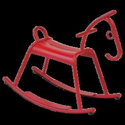 Cheval à bascule métal rouge