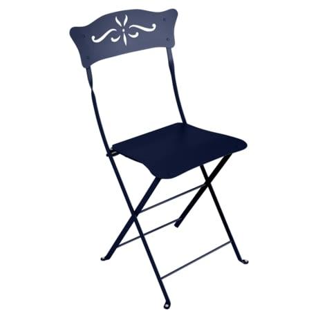 chaise metal pliante bleu