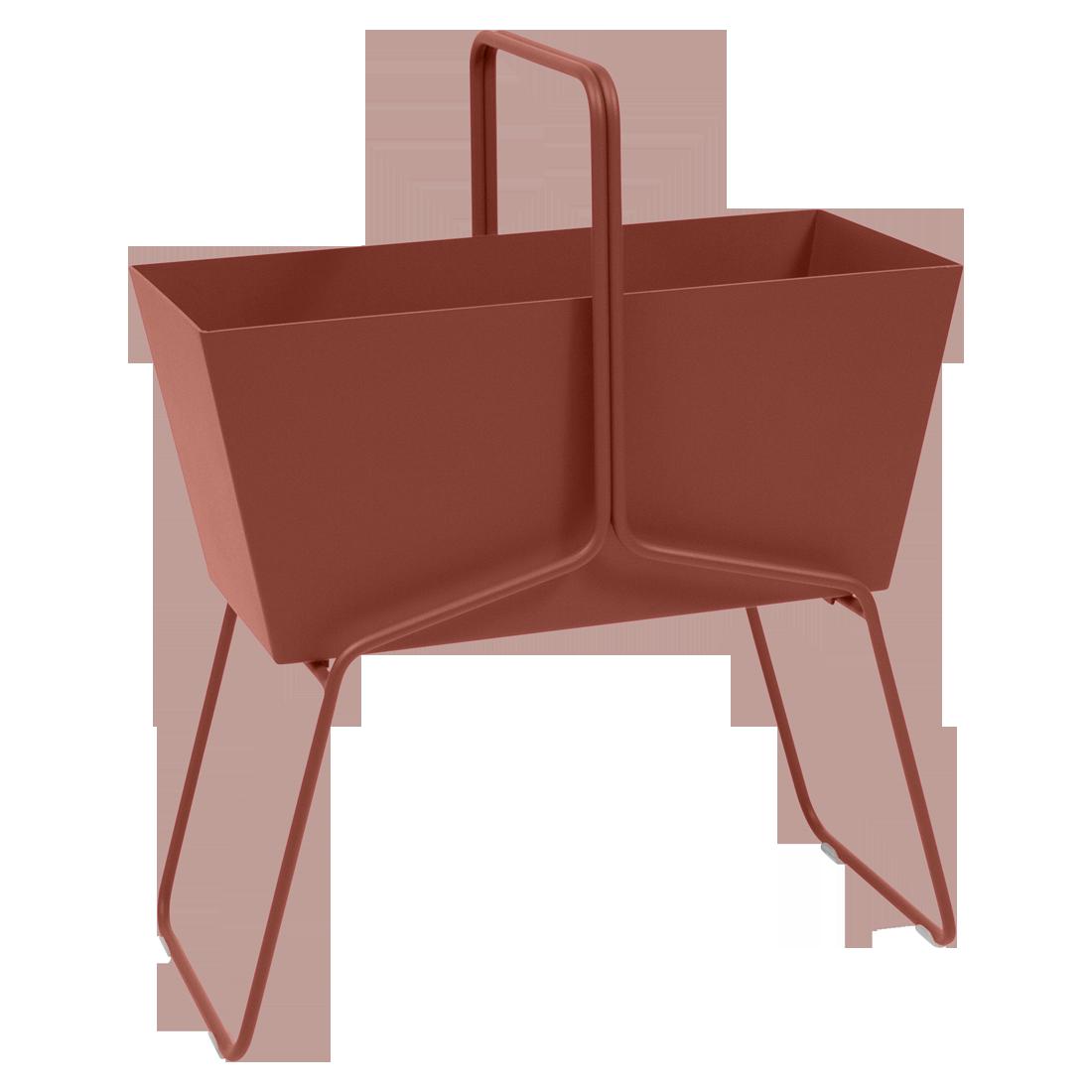 Jardinière format haut basket ocre rouge