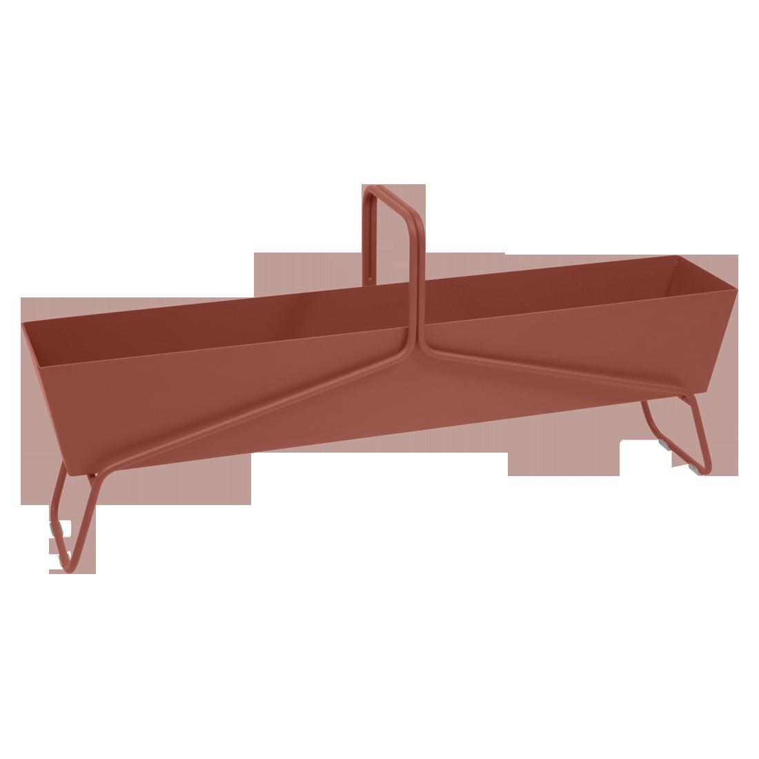 Jardinière format long basket ocre rouge