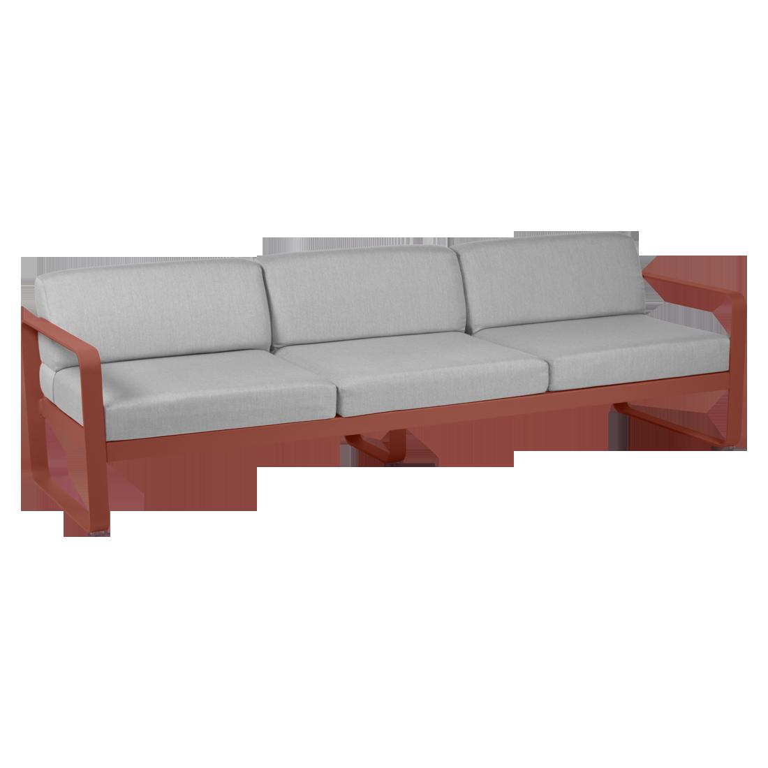 Canapé 3 places - Gris flanelle bellevie ocre rouge
