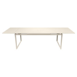 table metal, table de jardin a allonge, table allonge, grande table metal beige