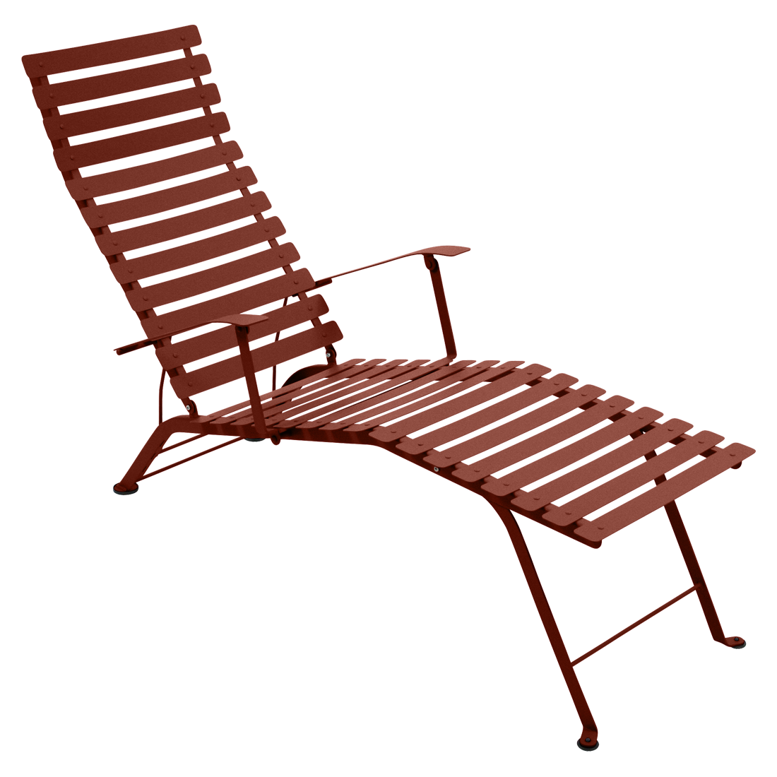 Chaise longue bistro ocre rouge