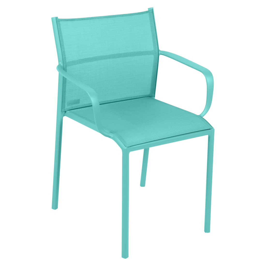 chaise bridge de jardin, chaise bridge en métal et toile bleu lagune