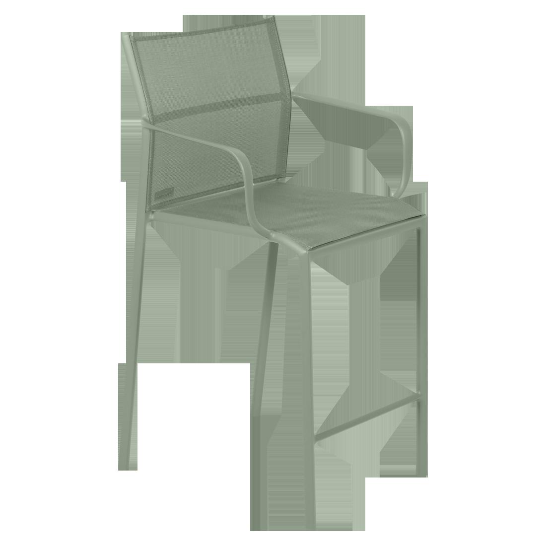 fauteuil de jardin avec accoudoirs, fauteuil avec accoudoirs en métal et toile cactus