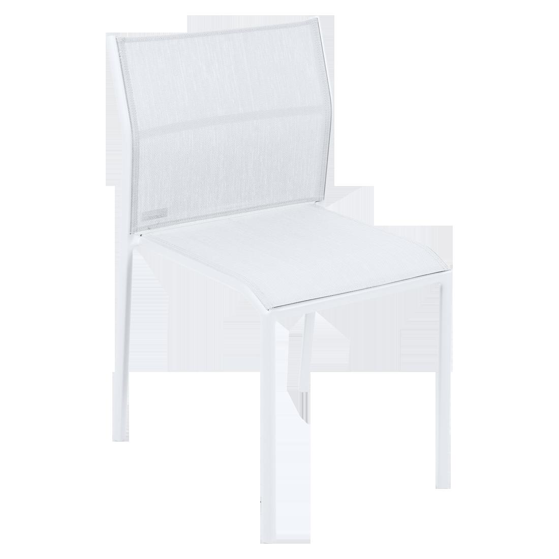 chaise de jardin, chaise en métal et toile blanc coton