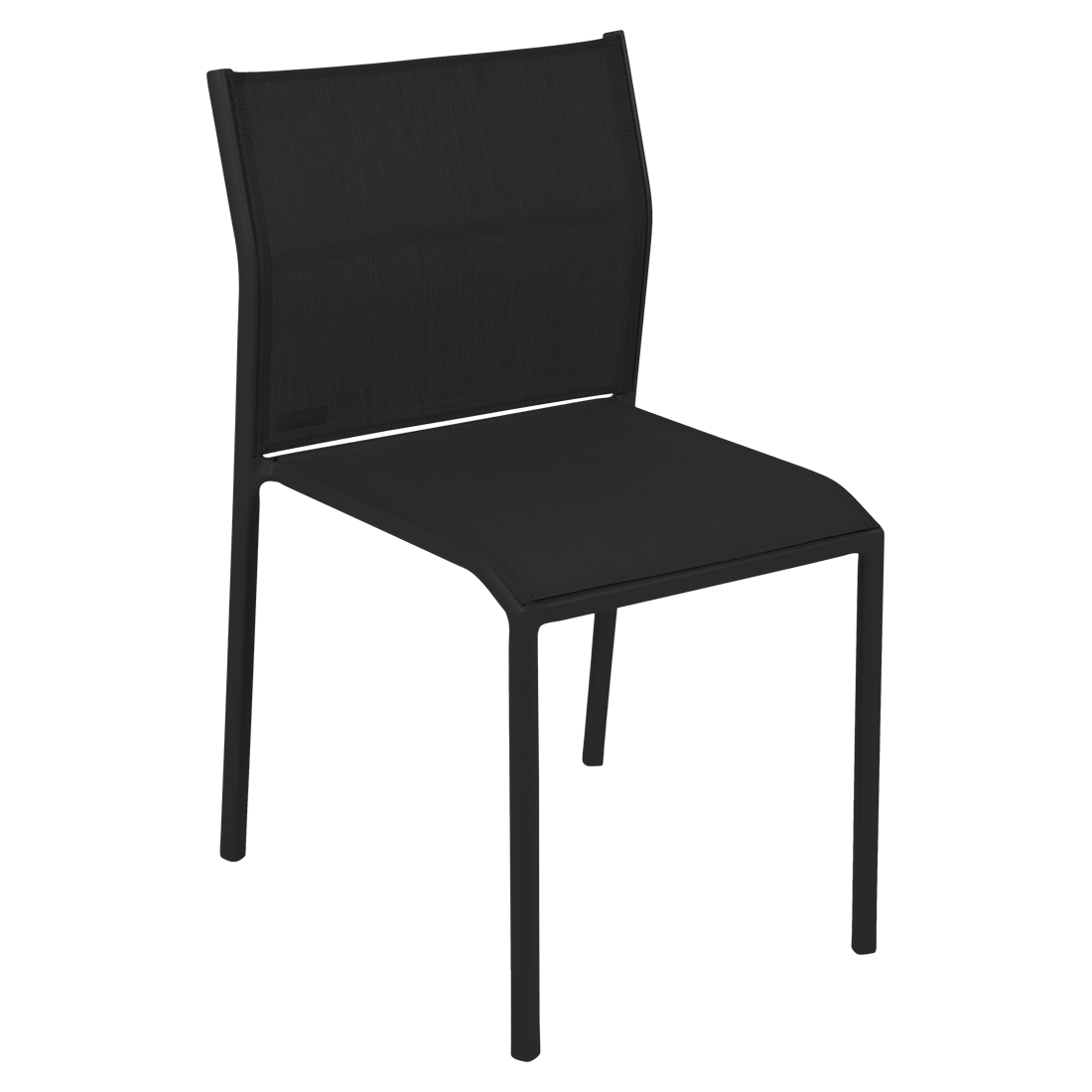 chaise de jardin, chaise en métal et toile noir