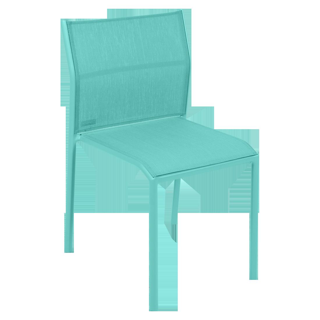 chaise de jardin, chaise en métal et toile bleu lagune