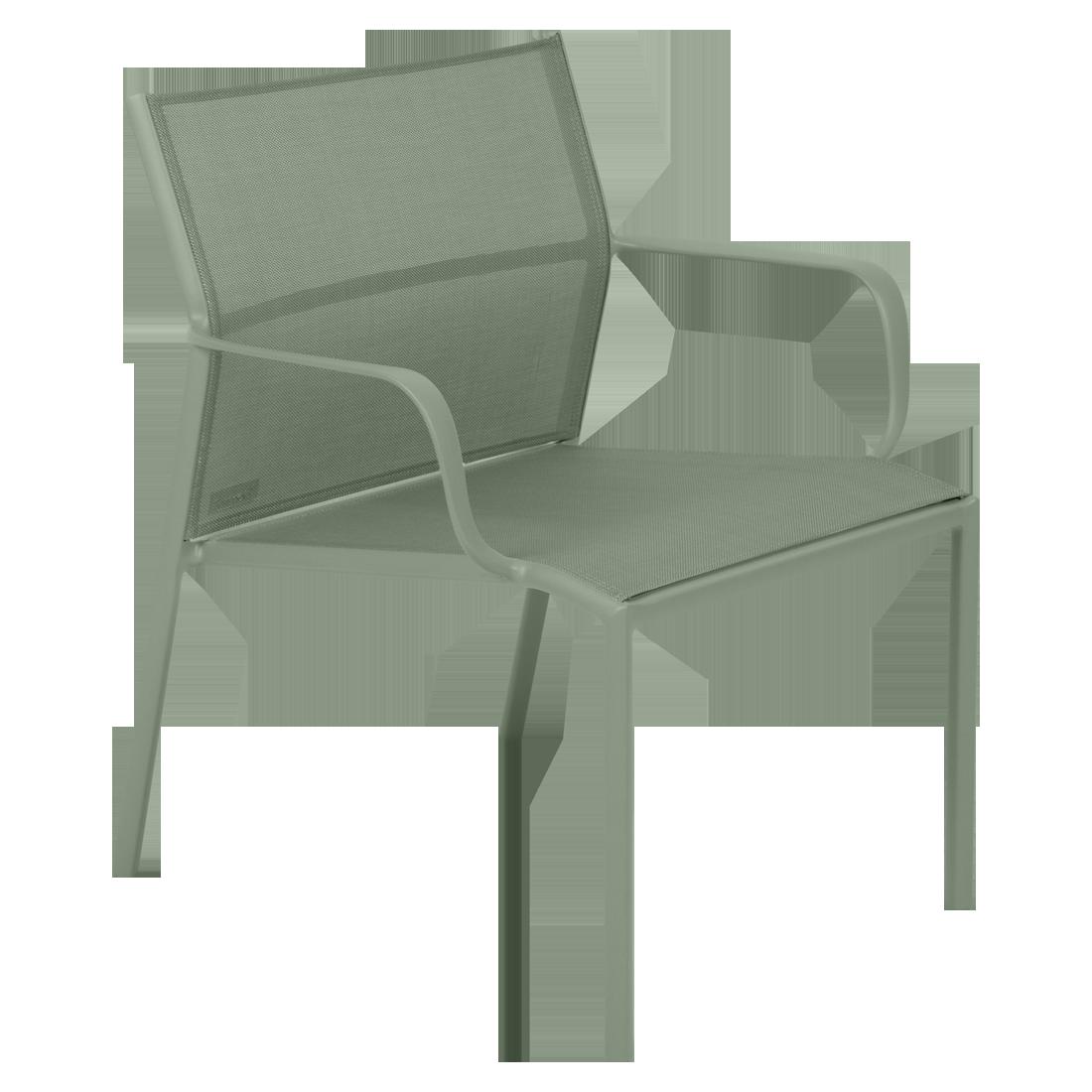 fauteuil bas de jardin, fauteuil bas en métal et toile cactus