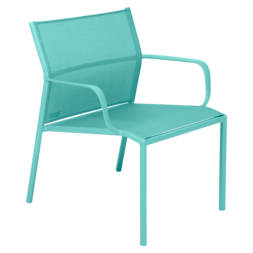 fauteuil bas de jardin, fauteuil bas en métal et toile bleu lagune