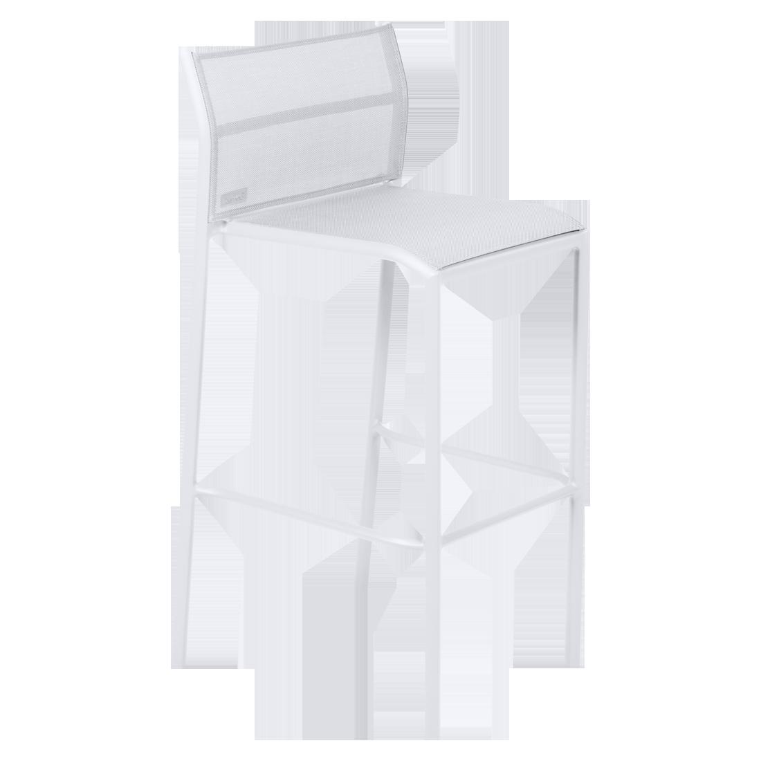 tabouret haut de jardin, tabouret haut en métal et toile blanc coton