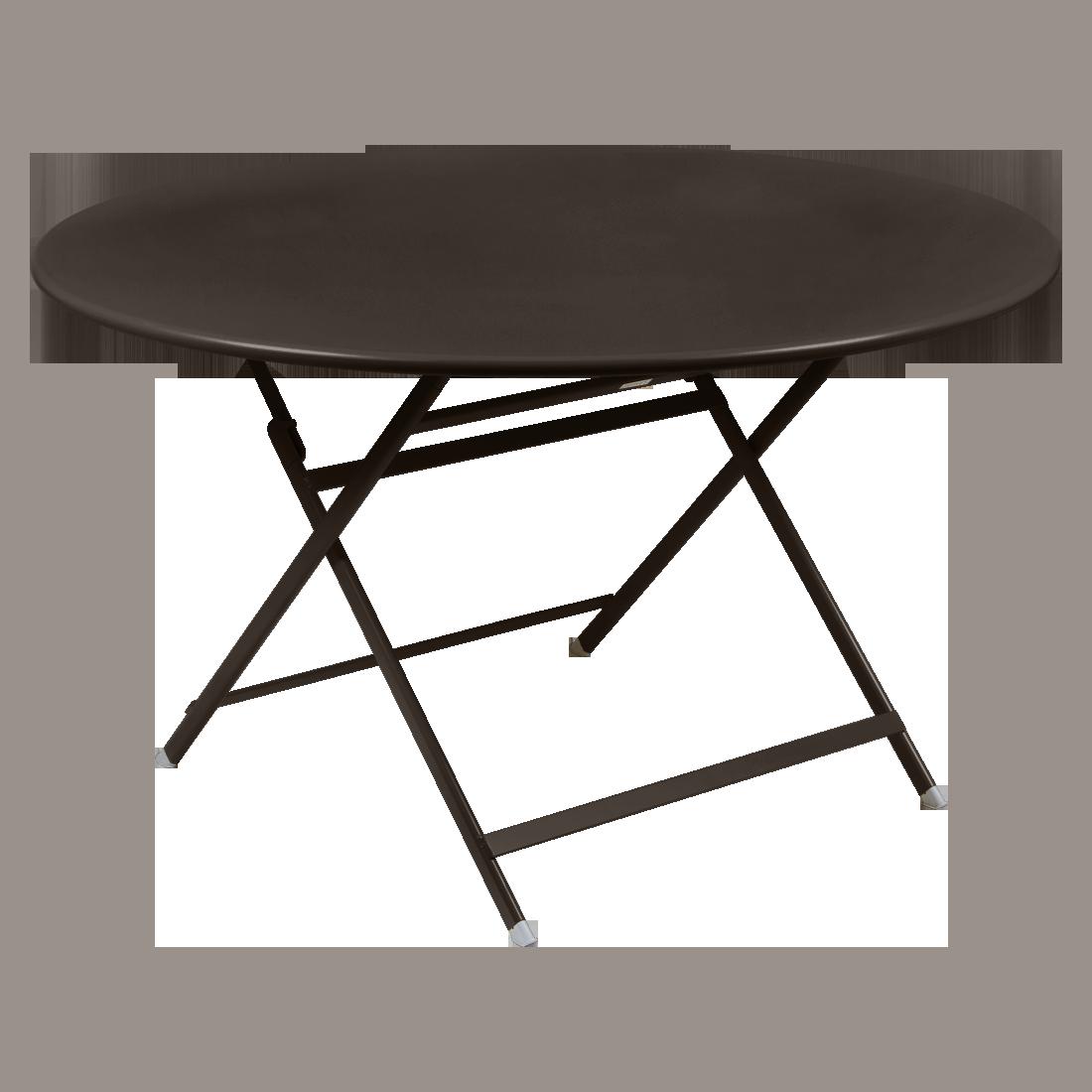table de jardin pliante, table metal ronde, table metal 7 personnes, table de jardin marron, table metal marron