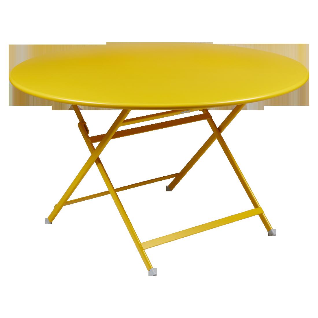table de jardin pliante, table metal ronde, table metal 7 personnes, table de jardin jaune, table metal jaune