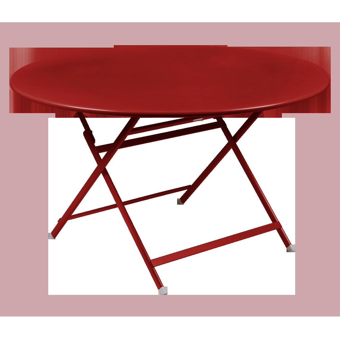 table de jardin pliante, table metal ronde, table metal 7 personnes, table de jardin rouge, table metal rouge