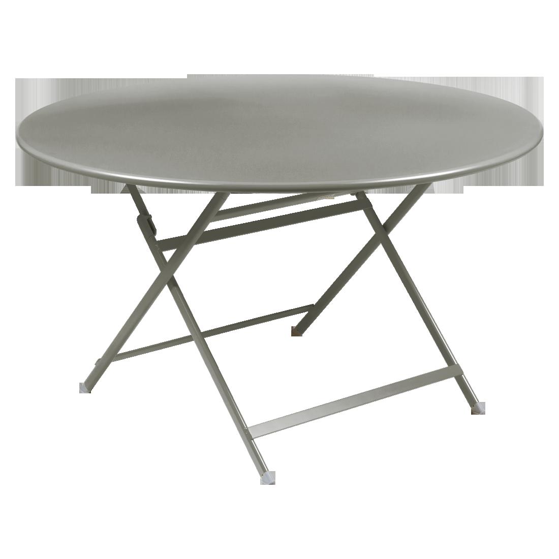 table de jardin pliante, table metal ronde, table metal 7 personnes, table de jardin grise, table metal grise