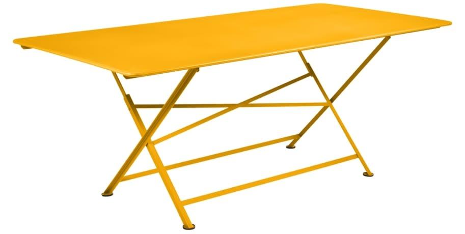 table de jardin, table metal, table de jardin pliante, table metal pliante, table fermob jaune