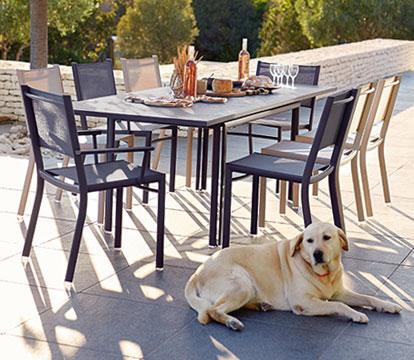 mobilier de jardin, table de jardin, chaise de jardin en toile, mobilier fermob en toile