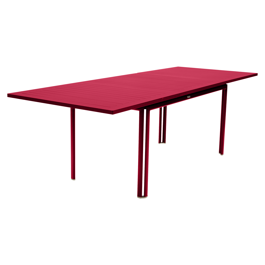 table metal, table de jardin, table rectangulaire, table rose