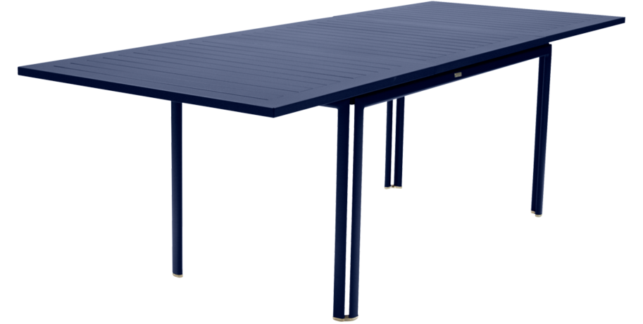 table de jardin, table metal rallonge, grande table de jardin, table metal bleu