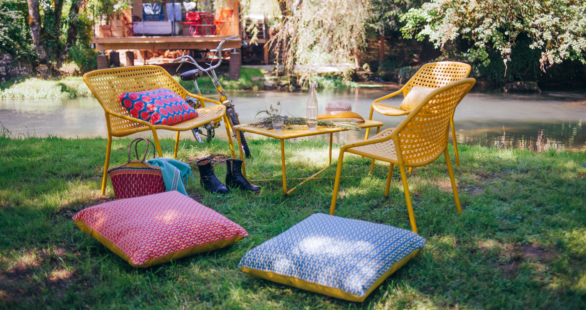 salon de jardin, fauteuil de jardin, table basse metal, coussin outdoor, coussin de jardin, coussin d exterieur