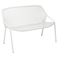 banquette fermob, banquette de jardin, petit blanc de jardin, fauteuil deux place, banquette blanche
