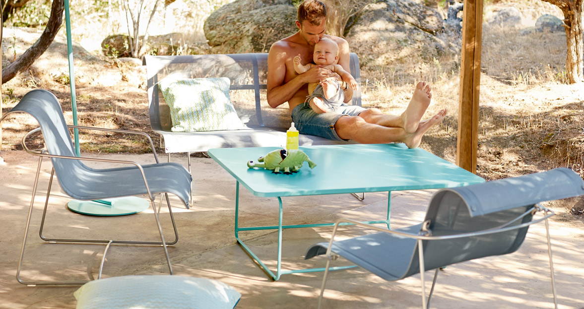 salon de jardin, ensemble de jardin, fauteuil de jardin, table basse metal, banc de jardin, fauteuil en toile