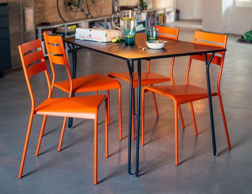 chaise metal, chaise de jardin, tabouret de bar industriel