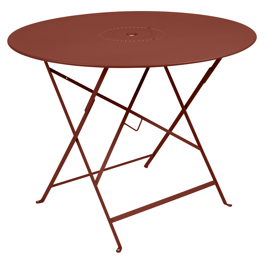 Table Ø 96 cm floreal ocre rouge
