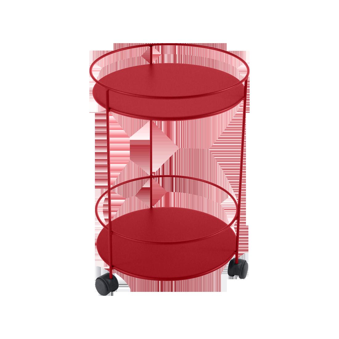 gueridon metal rouge
