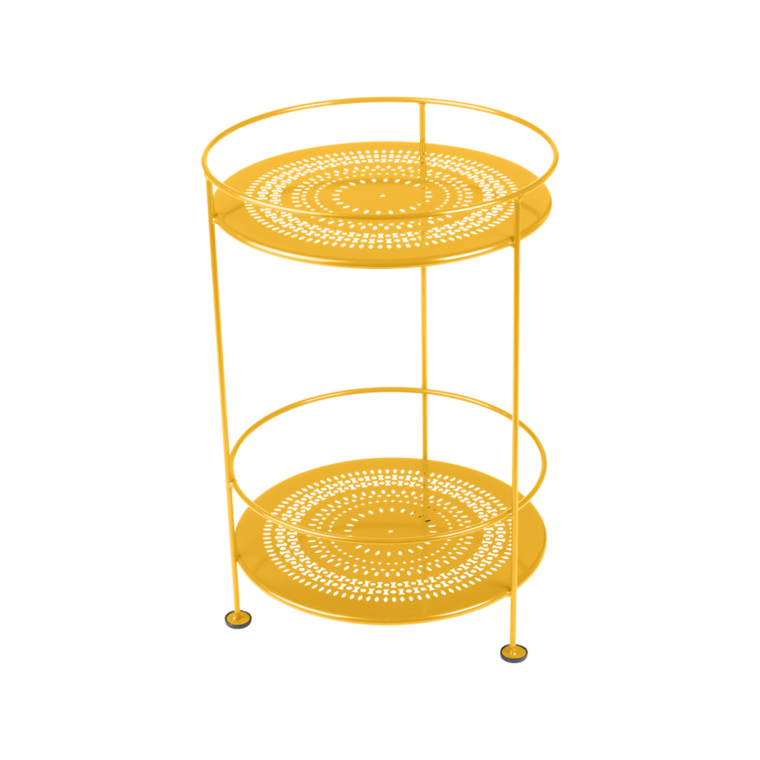 Incroyable Side Table Double Top Perforated. Guinguette. Gueridon Metal Jaune