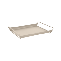 plateau de table metal, plateau de service metal, table de service beige