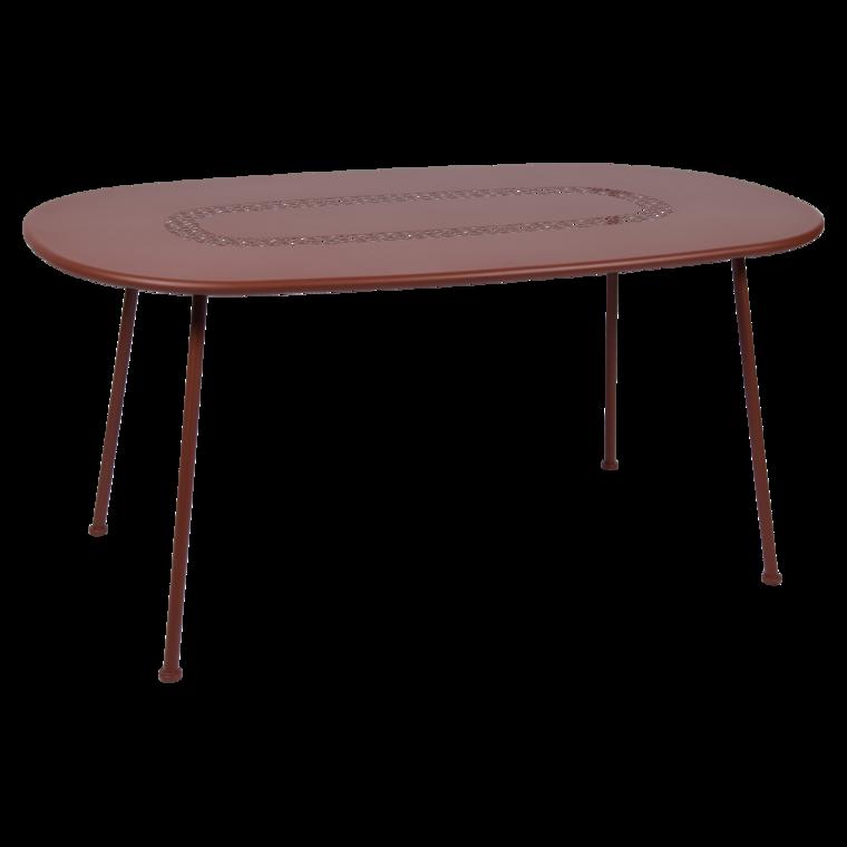Table ovale lorette ocre rouge