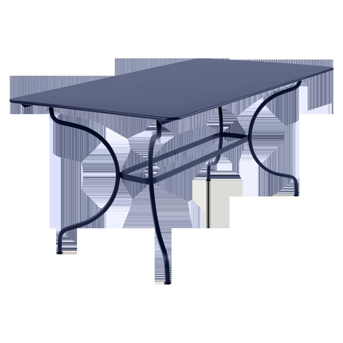table de jardin, table metal, table rectangulaire, table bleu