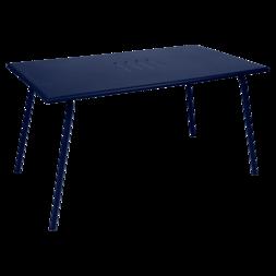 table de jardin, table metal, table rectangulaire, table 6 personnes, table bleu