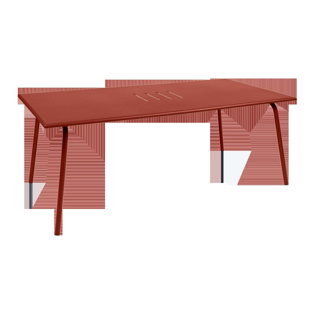 Table 194 x 94 cm monceau ocre rouge