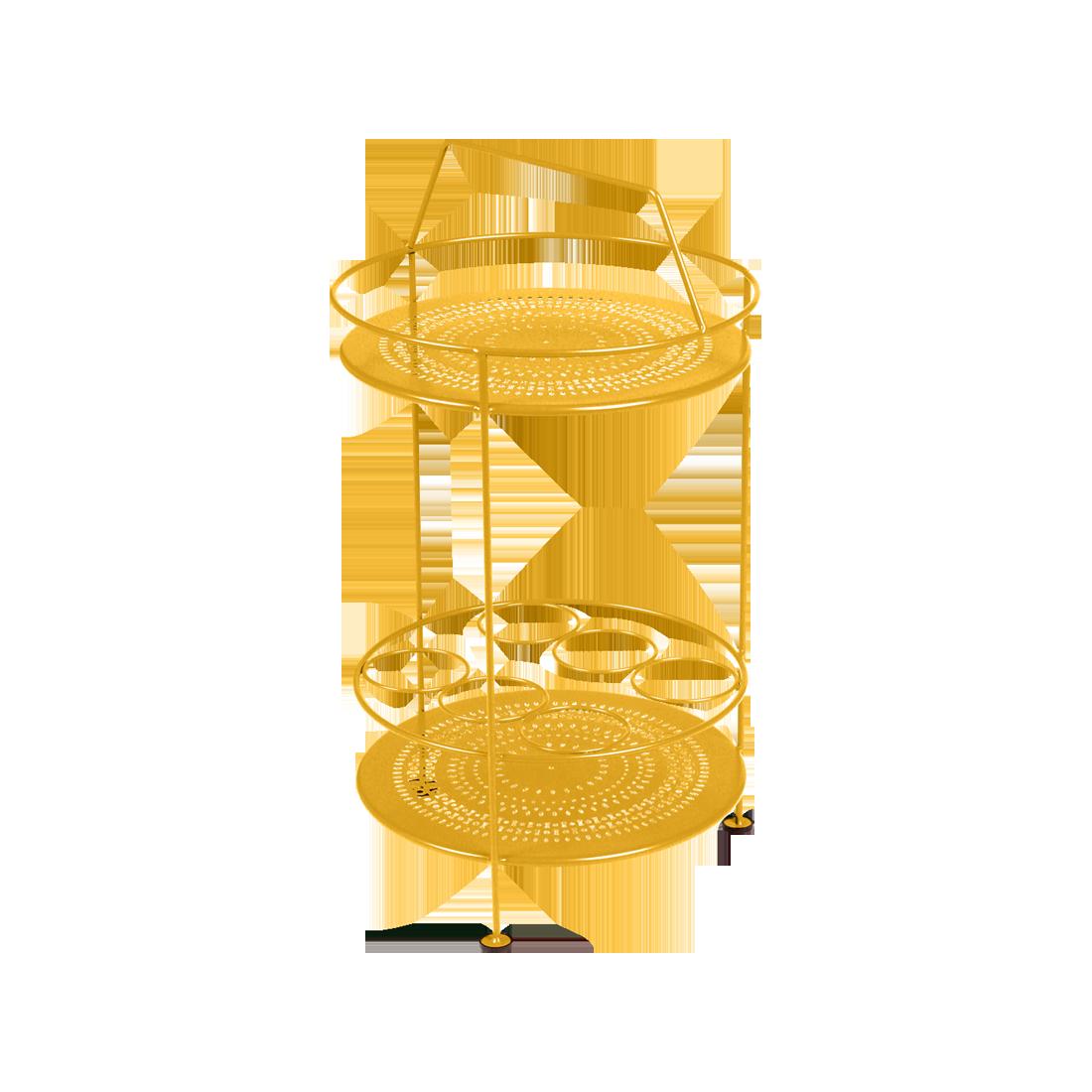 gueridon metal, bar portatif, gueridon fermob, gueridon jaune