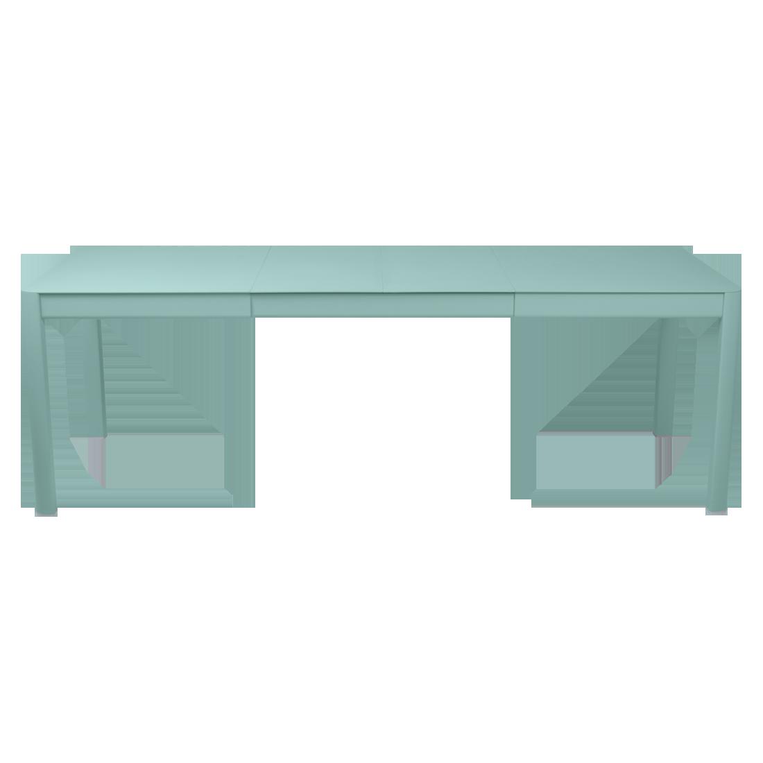 table de jardin bleu, table metal allonge, table metal a rallonge, table metal rectangulaire, table fermob allonge