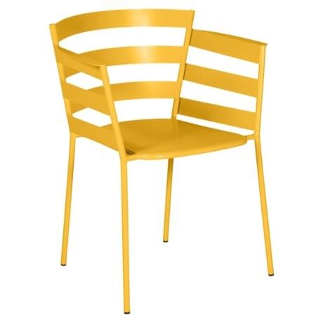 chaise metal design, chaise design, fauteuil de jardin, chaise metal, chaise fermob, fauteuil jaune