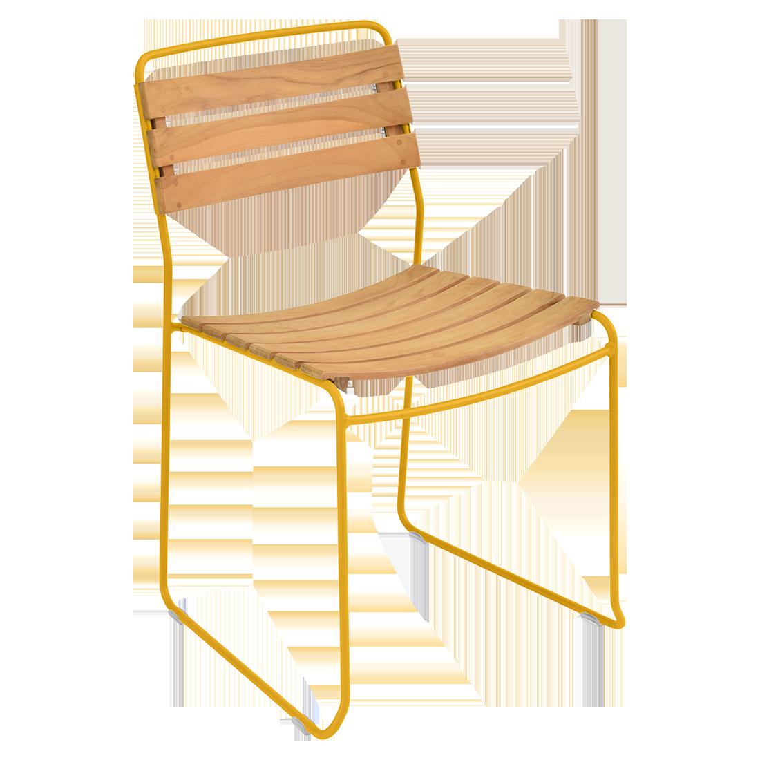 chaise surprising, chaise fermob, chaise bois et metal, chaise de jardin, chaise design, chaise bois et jaune, guggenbichler