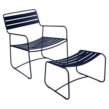 lounger fermob, fauteuil et repose pied metal, fauteuil de jardin bleu